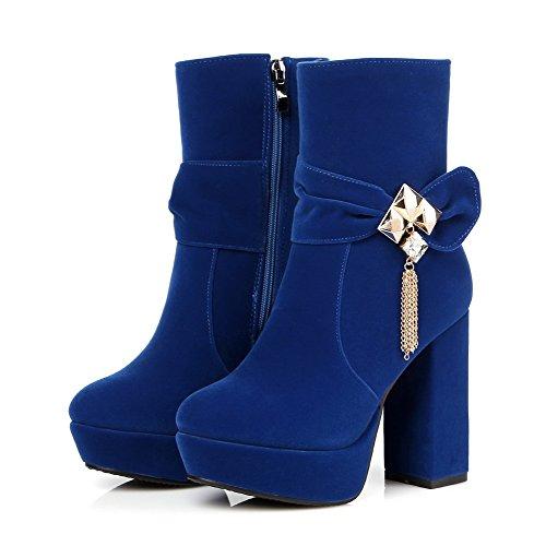 AgooLar Damen Rund Zehe Eingelegt Niedrig-Spitze Hoher Absatz Stiefel mit Beschlagene Strass Blau