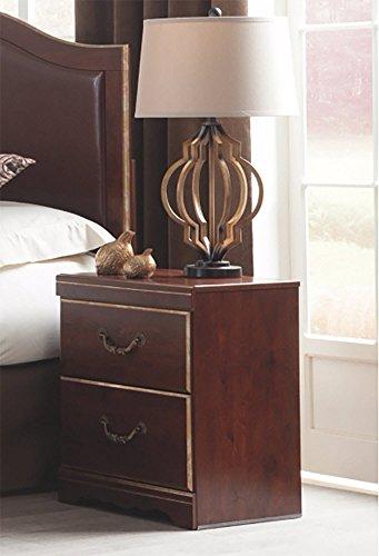 Ashley Furniture Signature Design Nachttisch Chanlyn Cherry Grain mit 2 Schubladen, traditionelles Rotbraun - Schlafzimmer Kollektion Von Cherry