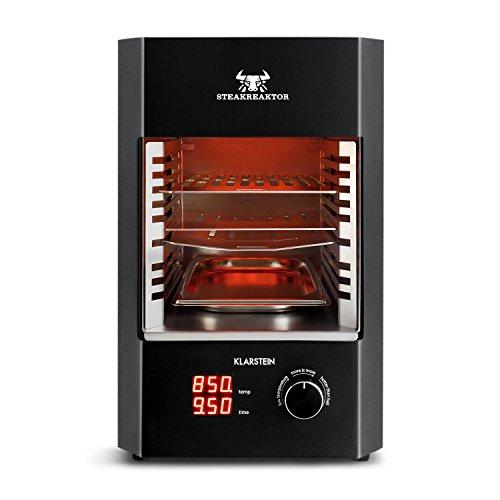 Klarstein Steakreaktor 2.0 • Hochleistungsgrill • Elektrogrill • Hochtemperatur-Grill • 850 °C • Keramik-Heizelemente • gekühltes Gehäuse • LED-Display • Abschaltautomatik • herausnehmbarer Grilleinsatz • Fettauffangschale • einfache Bedienung • schwarz