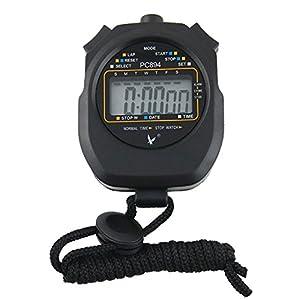 CaLeQi Digital Professional Handheld LCD Chronograph Sport Stoppuhr, one-row 2 Erinnerungen Bahnenzähler Running Timer.