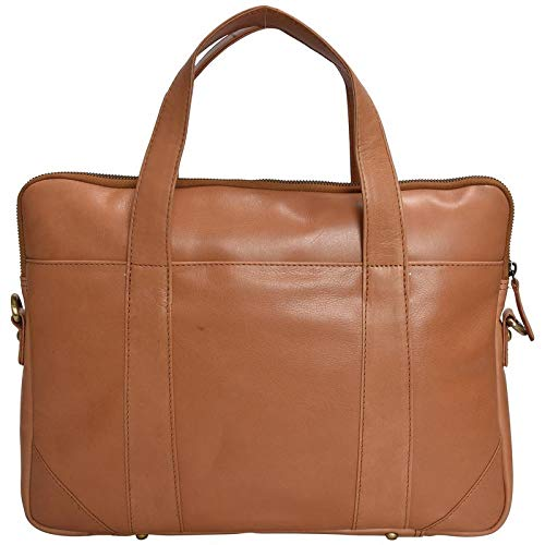 HiLEDER 100% Pure Genuine Premium Schafnappa Leder 14 Zoll Aktentasche Laptop Messenger Satchel Office Bag, Bräunen