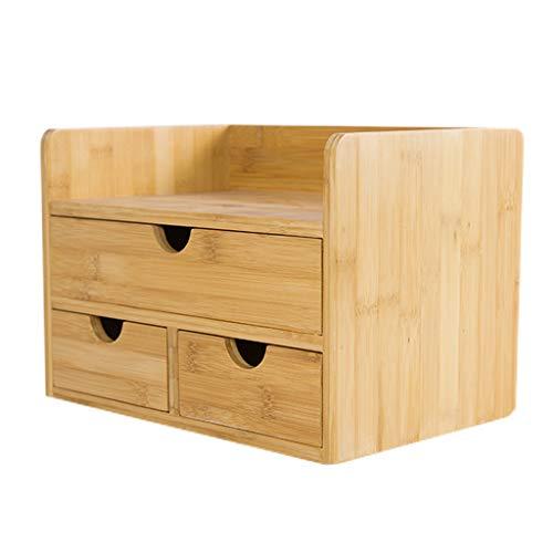 3-schubladen-bücherregal (Bamboo Desktop Storage Box Bookshelf Schreibtisch Organizer mit 3 Schubladen Bücherregal)