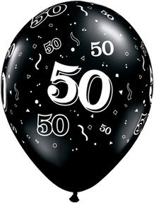 Biodegradable 50th Birthday Black Latex Balloons
