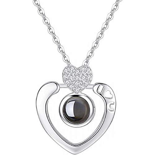 QueenDer Schlüsselbein Halskette Liebe Erinnerung Zirkon Projektion Crown Heart Shaped Zimmer Vier Klee Halskette für Frauen Mädchen (Herz Halskette 3) (Heart Anhänger Shaped)