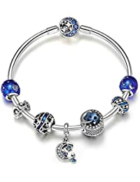 ddf5e5e2957b LPRWEC Pulsera de Mujer Simple Material de Plata esterlina 925 Sol y Luna Brazalete  Cristales Brillantes