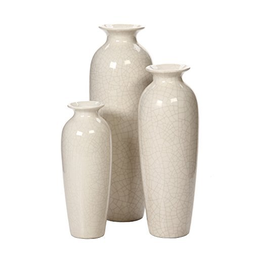 Hosley's Set of 3 Crackle Ivory Ceramic Vases in Gift Box by HG Global