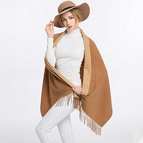 WE&ZHE Femminile di ispessimento Cashmere sciarpa scialle doppio scopo femminile mantenere calda lana retro tinta unita autunno e inverno , 1#