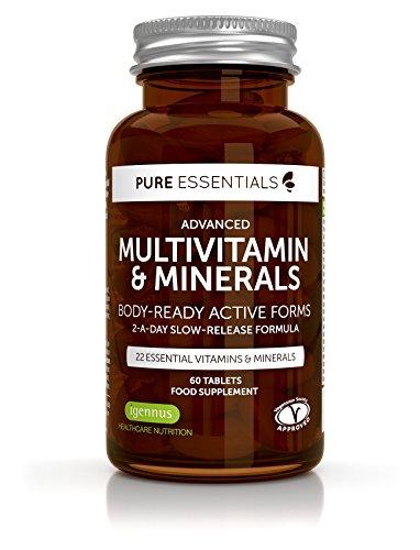 2 Teil-formel (Pure Essentials Fortgeschrittenes Multivitamin und Mineralien | Körpergerechte aktive Formel einschließlich Folat/Folsäure | 2 Tabletten pro Tag | 60 Tabletten)