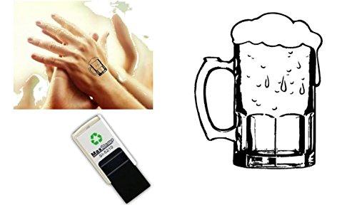 Handstempel mit Bierglas-Motiv, selbstfärbender Stempel, 18 mm, geeignet für Partys, Bierfeste, Nachtclubs, mir sicherer Tinte auf Wasserbasis, leicht abwaschbar (Leichter Bier)