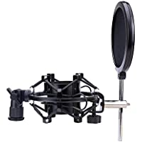 Tougo Universal Black Metal Microphone Shock Mount With Pop Filter Windscreen Shield,Connector Adapter,Anti Vibration Suspension Mic Mount Holder Clip For 43MM-46mm Diameter Condenser Mic
