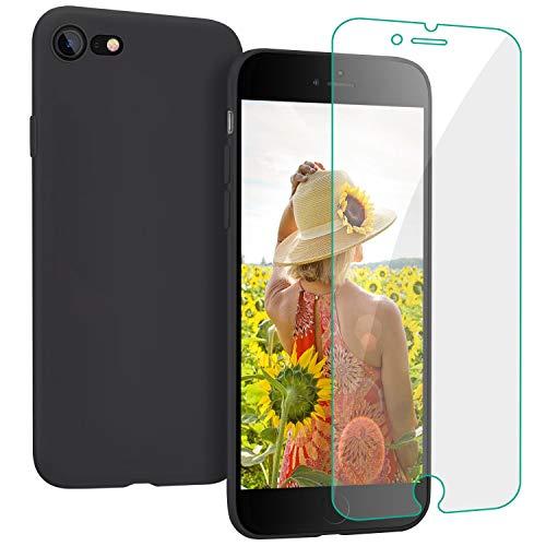 ProBien Hülle für iPhone 7 / iPhone 8, Silikon Handyhülle mit Kostenlos Panzerglas, Ultra-dünne Schutzhülle Kratzfest Bumper Case Cover für iPhone 7 / iPhone 8-Schwarz