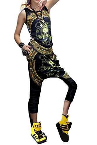 ELLAZHU Damen Schlank Hippie Mode Clown Gedruckt Damentop Onesize GK70 Multicoloured