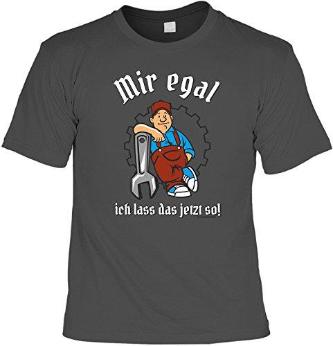 Handwerker T-Shirt Mir egal - Ich lass das jetzt so Shirt bedruckt Geschenk Set mit Mini Flaschenshirt Anthrazit