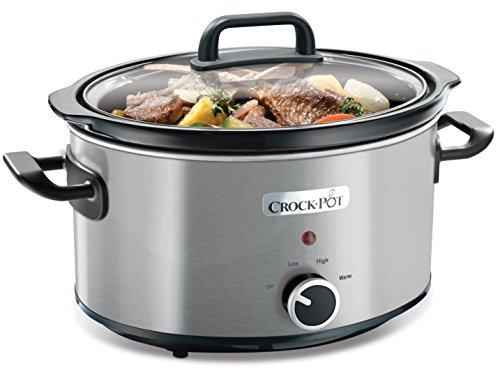 Crock Pot CSC025X Olla de cocción lenta de 3,5 l, color plateado 210 W, 3.5 litros, Cromado