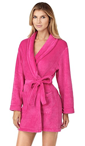 dkny-signature-fleece-long-sleeve-36-dressing-gown-pink-pink-x-large