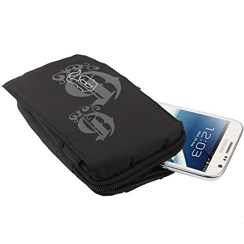 DFV mobile - Etui Schutzhülle Vielgebrauch mit Fächer, Reißverschluss, Schlaufe für Gürtel und Karabiner Haken für=> UMI Hammer S > Schwarz (16 x 9.5 cm)