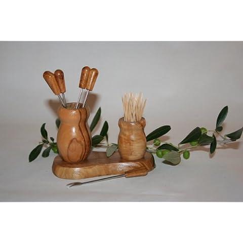 """PIC Vaso """"oliva e stuzzicadenti in legno d"""