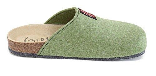 Bio Filz Pantoffel TWEED mit Fußbett & ABS-Filzsohle Gr. 36 - 47 Lind