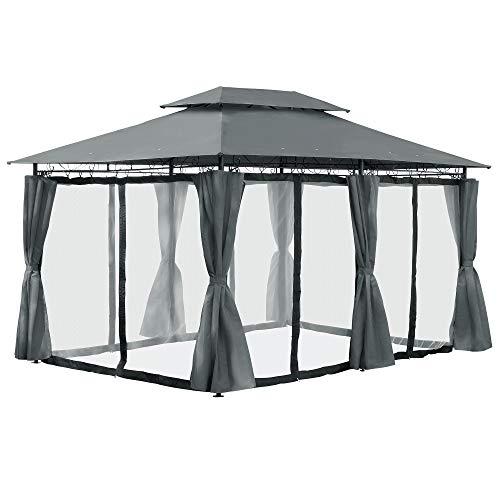 Arebos Pavillon 3x4m mit Moskitonetz (Anthrazit)