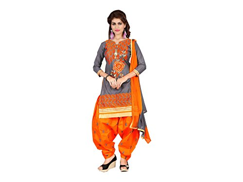 Designer Grey Cotton Embroidered patiala Suit