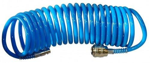 Güde 41400 SB Druckluft Spiralschlauch 5 M (mit Schnellkupplung und Stecknippel, Knickschutz,...