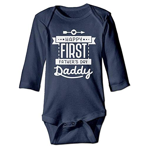MSGDF Unisex Newborn Bodysuits Happy First Father's Day Daddy Baby Babysuit Long Sleeve Jumpsuit Sunsuit Outfit Navy Lace Velvet Romper