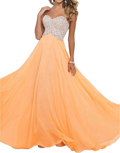 Victory Bridal Attraktive Herzausschnitt Pailletten Damen Abendkleider Promkleider Ballkleider Lang A-linie Orange