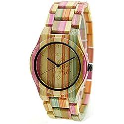 NectaRoy Handmade Round Wooden Watch Quartz Watch Colorful Bamboo Wood Watches Japan Movement Wristwatches