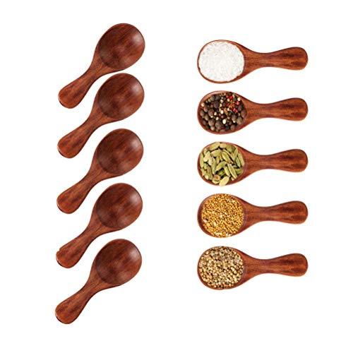 Kleiner Salzlöffel aus Holz-5 Stücke Mini Holzlöffel mit kurzem Griff, ideal für kleine Marmeladengläser, Gewürze, Gewürze, Gewürze, Zucker, Honig, Kaffee, Tee, Senf, Eiscreme, Milchpulver -