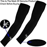 DIGITAL SHOPEE Men's and Women's Arm Sleeves with Thumb Hole for Protection Against Sun/Dust and Pollution (Black, Free Size)