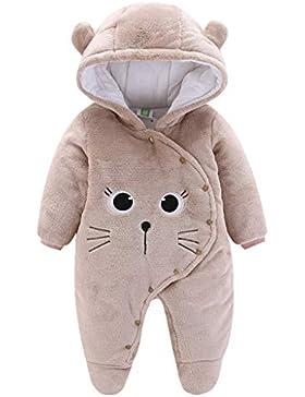 Baby Winter Fleece Overall mit Kapuze Mädchen Jungen Schneeanzüge Warm Strampler Outfits 0-12 Monate