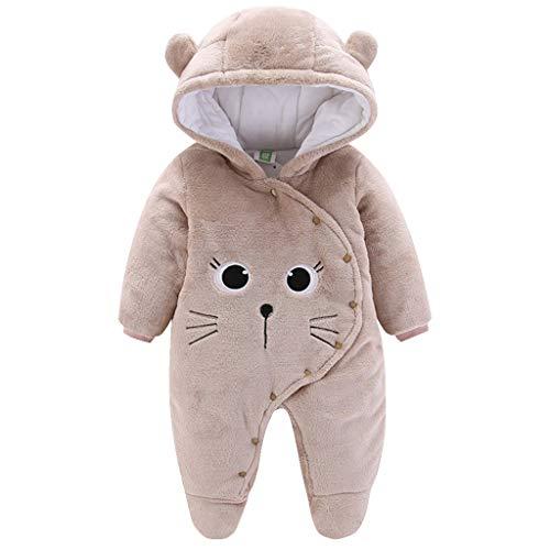 Baby Winter Fleece Overall Mit Kapuze Mädchen Jungen Schneeanzüge Warm Strampler Outfits Khaki 0-3 Monate (59/44)