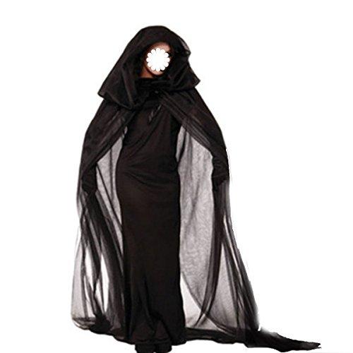 GEXING Cos Halloween Tod Kostüm Weiblich Hexen Männliche Und Weibliche Liebhaber Hexen Geister Kleidung Teufel Kostüm Sense Mantel ,C-155-170CM (High End Halloween Kostüme)