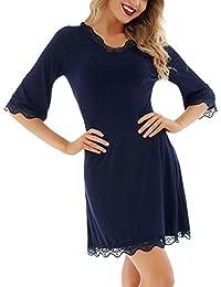 Dromild Camisa de Dormir para Mujer 3/4 Mangas con Cuello en V camisón Ropa