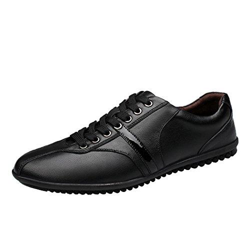 Sperry Athletic Sneakers (Spades & Clubs Pik & Clubs Herren Vier Jahreszeiten Leder Casual Fashion Spitze bis Kragenhalskette Soft Flat Sneakers Schuhe, Schwarz - Schwarz - Größe: 44)