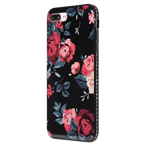 Hülle für iPhone 7 plus , Schutzhülle Für IPhone 7 Plus Blumen gedrucktes Muster weichen schwarzen TPU Gel Shell Stoßfänger Fall Fall ,hülle für iPhone 7 plus , case for iphone 7 plus ( Color : B ) A