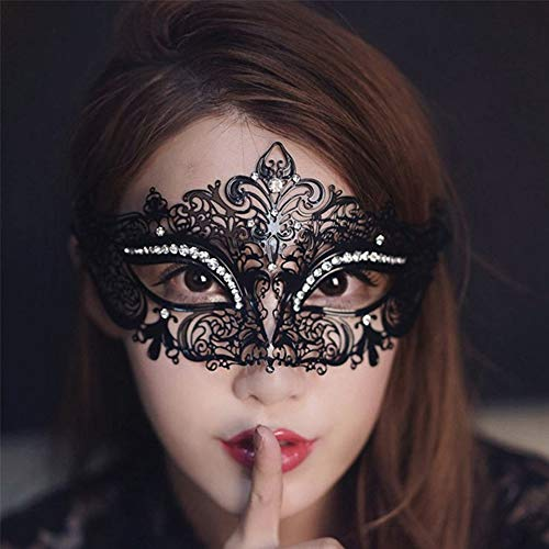Venezianische Maske für Maskenbälle, Halloween, Abschlussball, Luxus-Diamanten-Maske für Maskerade, Party, Kostüm, Schwarz