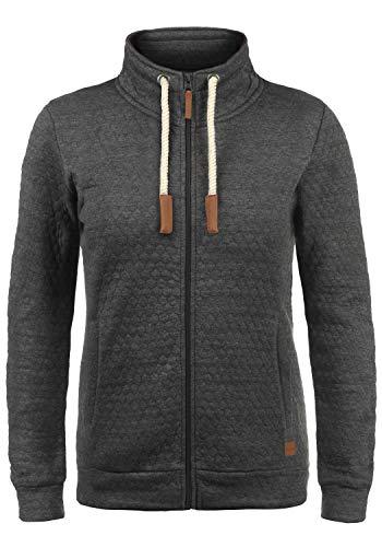 BlendShe Patty Damen Sweatjacke Cardigan Sweatshirtjacke Mit Stehkragen, Größe:XL, Farbe:Pewter Mix (70817)