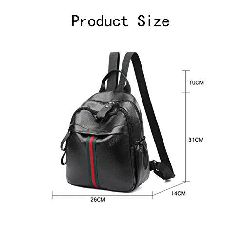 Frau Umhängetasche Wilde Casual PU Weiche Ledertasche Mini Rucksack Handtaschen Black1