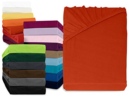 npluseins klassisches Jersey Spannbetttuch - erhältlich in 34 modernen Farben und 6 verschiedenen Größen - 100% Baumwolle, 90-100 x 200 cm, kaminrot