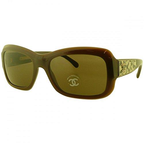 Chanel Ladies Rectangular Sunglasses With Enameled Mosaic Embellishments