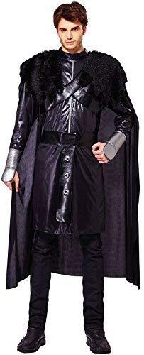 Kostüm König Uhr - Fancy Me Herren Schwarz Schnee König Mittelalterlich Thron Spiel Uhr Nacht Karneval Halloween Tv Buch Film Umhang Tunika Gürtel Kostüm Kleid Outfit