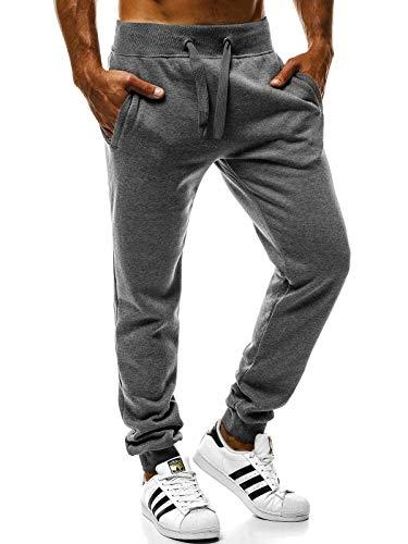 OZONEE OZONEE Herren Jogg Hose Baggy Hose Regular Sporthose Freizeit Hose Jogginghose Freizeithose JS/XW01 DUNKELGRAU M