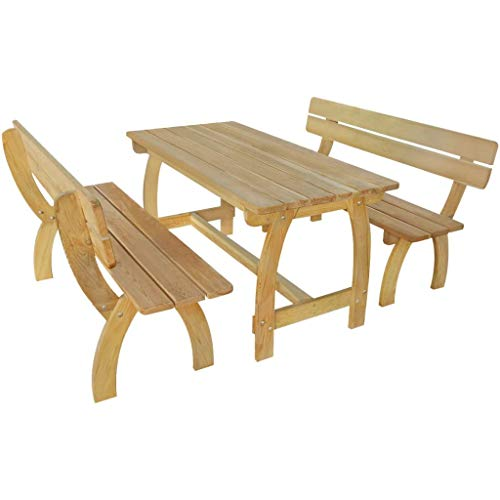 Tidyard Gartenbank 2 STK. mit Tisch Garten Set Kiefernholz Imprägniert artenmöbel Set Sitzgruppe...