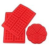 Tebery 2 Stil Silikon Waffeln Backform Schokoladenform Kuchenform Waffelform Eiswürfelform Schokoladen Tafeln Machen 3 Stück