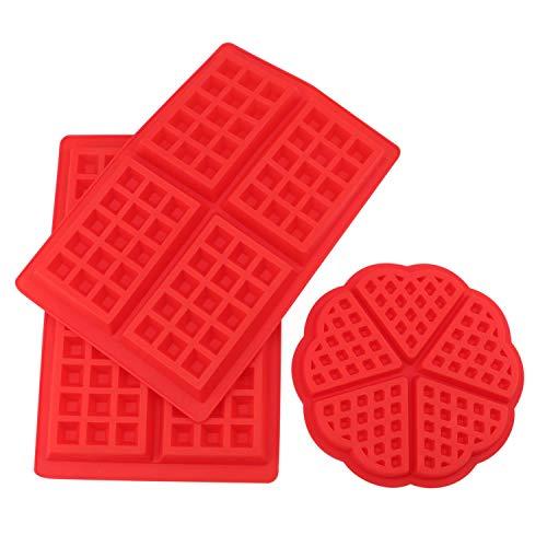 Tebery 2 Stil Silikon Waffeln Backform Schokoladenform Kuchenform Waffelform Eiswürfelform Schokoladen Tafeln Machen 3 Stück - Waffel Silikon-form