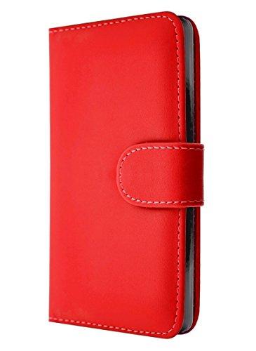 iPhone 7 / iPhone 8 Hülle Leder Klapphülle mit Kartenfach GizzmoHeaven Schutzhülle Tasche Flip Case Cover Etui Handyhülle für Apple iPhone 7 / iPhone 8 mit Displayschutzfolie und Stylus-Stift - Rot Rot