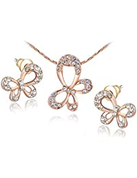 Carina 18Kt Gold Swarovski Element Crystal Butterfly Pendant And Earring Set With Chain For Women / Girls