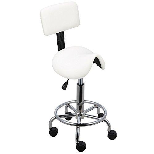 Voilamart Arbeitshocker mit Lehne Rollhocker mit Kurve gepolsterter Sitzfläche und Rückenlehne,Kosmetikhocker Drehhocker für Ärzte, Friseure, Tätowierer ,Weiss