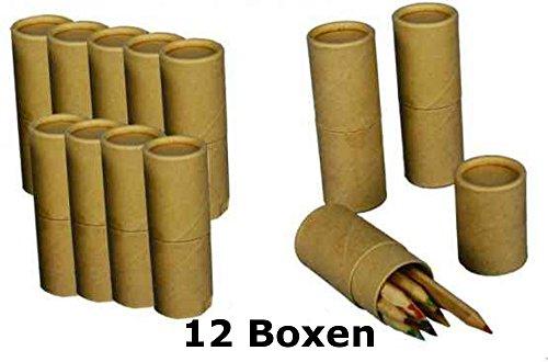 12x Buntstifte in runder Dose - Sparpackung Malstifte - Mitgebsel f. Kindergeburtstage